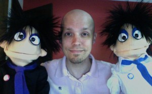 David Manley with Ming and Ping Puppets
